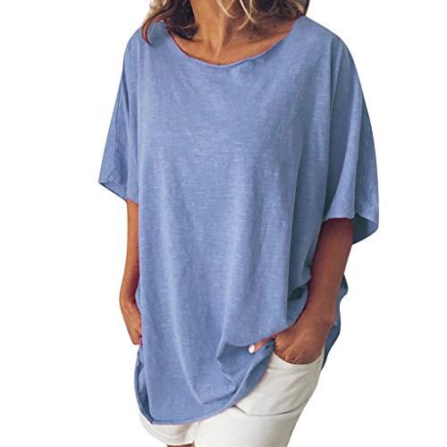 TEFIIR T-Shirt für Frauen, Zurück zu Schulsachen Lose Größe Fashion Office Damen Solid O-Neck Tops Bluse Geeignet für Freizeit, Dating, Strandurlaub - Kordelzug-bestickte Umhängetasche