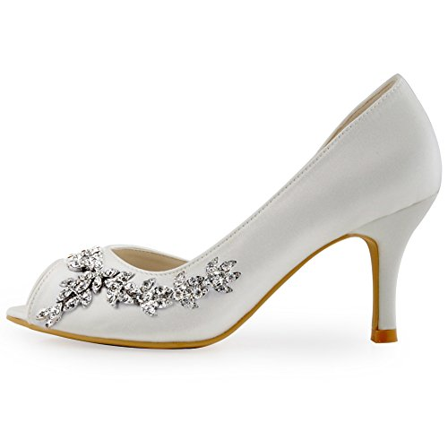 ElegantPark HP1542 Donna Partito Pompe Peep Toe D'orsay Strasss Tacco A Spillo Satin Scarpe Da Sposa Avorio