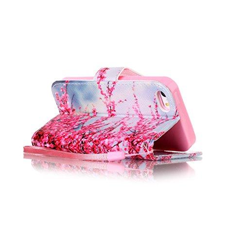 Für iPhone SE/Für iPhone 5/5S Gurt Strap Magnetverschluß Ledertasche Hülle,Für iPhone SE/Für iPhone 5/5S Premium Seil Leder Wallet Tasche Brieftasche Schutzhülle,Funyye Stilvoll Jahrgang [Bunt Muster] Pfirsich Blühen