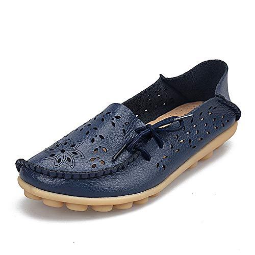 Geburtstagsgeschenk Day.LIN Damen Bootsschuhe Leder Loafers Fahren Flache Schuhe Halbschuhe Slippers Erbsenschuhe
