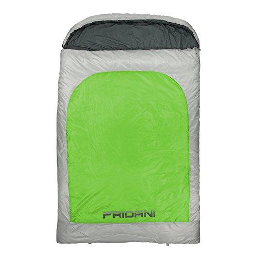 Fridani 2 Mann Schlafsack BG 235x150cm XXL Deckenschlafsack Grün -22°C warm wasserabweisend waschbar