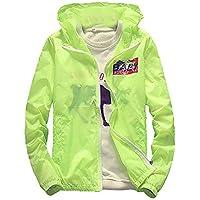 Men Jacket Home Abrigos para Hombre Sudadera con Capucha Zip-up Chaquetas Rompevientos de Secado rápido (Color : Green, Size : US-Medium)
