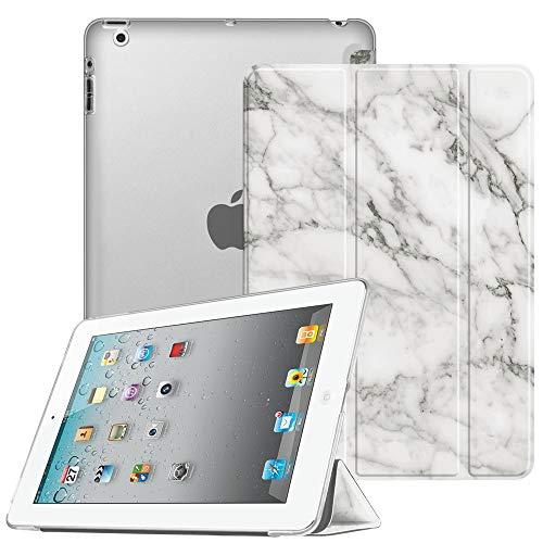 Fintie Hülle für iPad 4, iPad 3 & iPad 2 - Ultradünne Superleicht Schutzhülle mit transparenter Rückseite Abdeckung Cover mit Auto Schlaf/Wach Funktion, Marmor Weiß