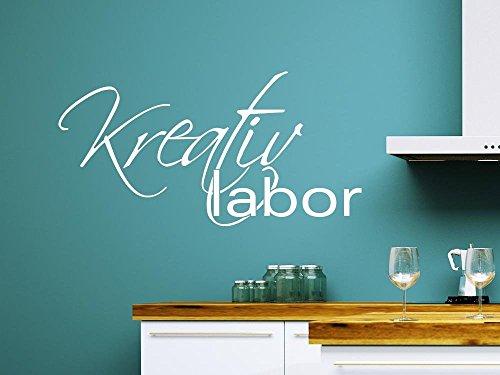 Wandtattoo für Küche gestalten Spruch Kreativ Labor Kochen Essen Rezept (59x30cm//070 Schwarz)
