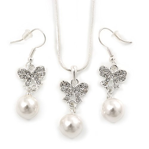 Perle di Vetro di cristallo austriaco trasparente con ciondolo a forma di fiocco con argento catena e orecchini a goccia, 40cm L/5cm), in confezione regalo