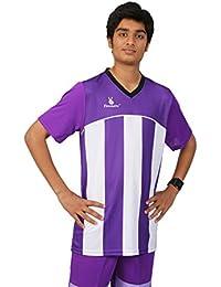 Triumph Men's Polyester Football Purple Stripe V Neck Uniform (XXXL)