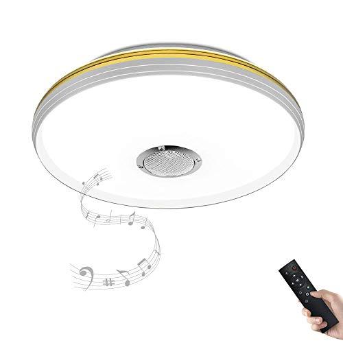 Dimmbare Deckenleuchte mitFernbedienung und Bluetooth Lautsprecher 30W mit grauem Ring fürWohnzimmer,Schlafzimmer,KücheundEsszimmerJDONG X5054T-30W-LY