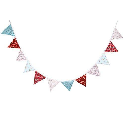 Demarkt Blumen Muster Wimpelkette Dreieck Flagge Banner Wimpel Fahnen Bunting Girlande Halloween Weihnachten Hochzeit Party Dekoration