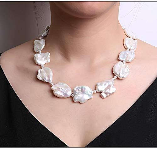 jyx barock perlenkette weiß 25-35 mm Barock-Süßwasser perlen Halskette Perlen Barock - Perle-perlen-halsketten-bulk