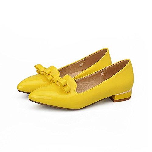 AllhqFashion Femme à Talon Bas Verni Tire Pointu Couleur Unie Chaussures Légeres Jaune
