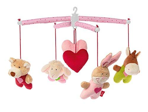 sigikid, Mädchen und Jungen, Mobile mit süßen Tieren und Herzchen, Rosa/Bunt, 42135 (Bungee-baby)