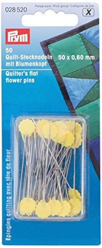 Spilli testa piatta a fiore per quilting 50mm argento/giallo