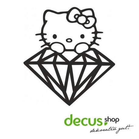 Decus Hello Kitty Diamant L 1955 // Sticker OEM JDM Style Aufkleber (weiß matt) (Hello Kitty Auto Aufkleber Zubehör)