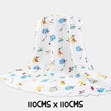 Rachna's 6 Layer Gauze Multi Print All Season Ultra Soft Muslin Cotton Baby Blanket Swaddle Wrapper - 131-110CMS x 110CMS (Print May Vary)