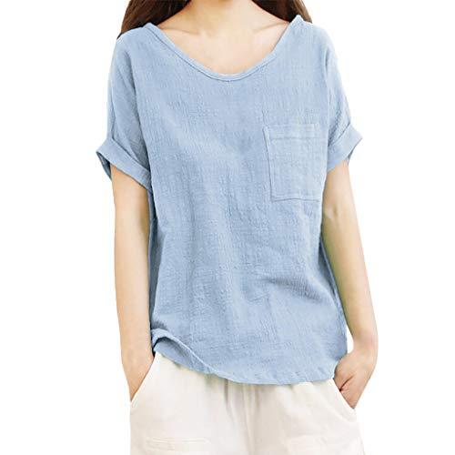 Große Größe Sommertops für Damen,Dorical Frauen Linen Kurzarm V-Ausschnitt Tops mit Tasche,Ultraleicht Oberteile Loose T-Shirt Blouse,Elegant Damenkleidung S-5XL Ausverkauf(Blau,Medium)