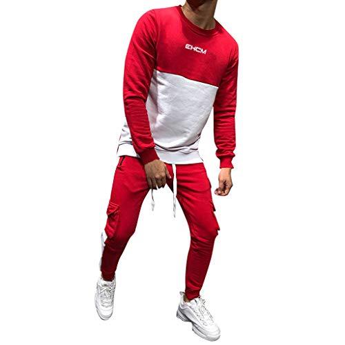 LoveLeiter Männer Sporthosen Hosen Pocket Overalls Lässige Tasche Sport Work Casual Hosen Basic Jogginghose Rot Schwarz Baumwolle Freizeithose