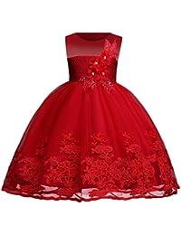 Hawkimin Mädchen Ärmellos Blume Stickerei Prinzessin Festzug Kleider Abschlussball Ballkleid Kleid Party Brautjungfer Kleid
