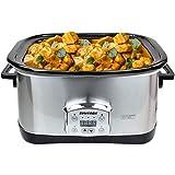 Syntrox Germany Slow Cooker digitale in acciaio inox, 7,5 litri, con timer, funzione di mantenimento del calore, vetro di sicurezza e ciotola rimovibile in ceramica - Slow cooker
