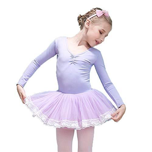 Mädchen Moderne zeitgenössische Tanz Ballett Trikots Langarm Bowkont Spitzenbesatz Tüll Tutu Rock Tanzkleid Kinder Ballerina Dancewear Kostüme Baumwolle Front gefüttert Tanzbekleidung für besondere - Ballett Und Zeitgenössischen Tanz Kostüm