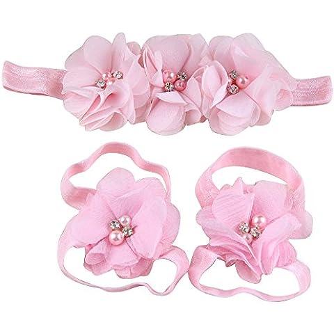 Sanwood bebé plegada con diseño de tela de chifón de diseño de diamantes de imitación de los pies de la flor de la que se realizan descalzo sandalias planas de tela con cinta para la cabeza con conjunto de cinta y