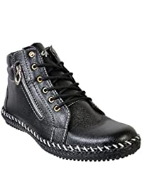 Duppy Men's Black Synthetic Leather Ankle Boot