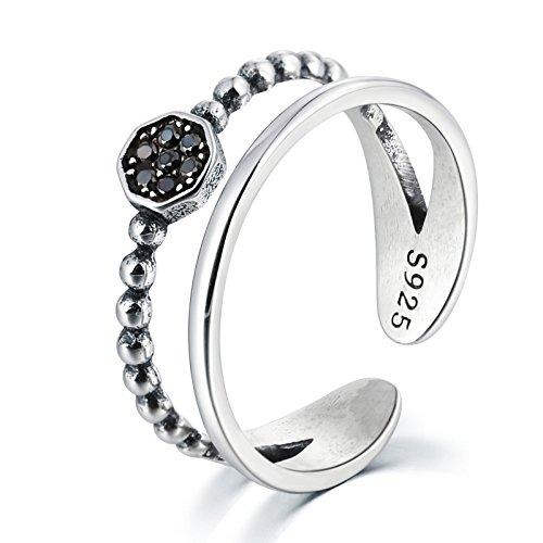 Gnzoe Argento 925 anello da piede regolabile ossidati,Doppia strati Nero Zirconi Diametro 1.5CM