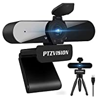 True 1080P Webcam with Microphone, (PTZ922) HD Web Camera for Laptop Desktop PC USB Video Streaming Camera with Tripod Privacy Cover Compatible with Window,MacOS,Linux,Zoom,Microsoft Team