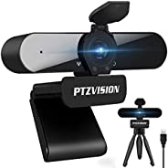 True 1080P Webcam with Microphone, (PTZ922) HD Web Camera for Laptop Desktop PC USB Video Streaming Camera wit