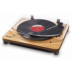 ION Audio Classic LP Wood - Plato giradiscos con convertidor, reproduce discos de vinilo de 33 1/3, 45 y 78 RPM