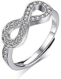 Vnox Anillo de la venda de compromiso de la boda del amor del infinito de la plata esterlina de las muchachas 925 de las mujeres,tamaño ajustable