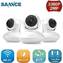 SANNCE Kit de 3X 1080P IP WiFi Cámara Video Vigilancia IR Vision Nocturna Incorporado Micrófono y
