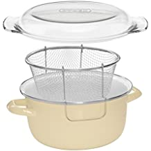 Premier Housewares - Freidora con cesta y tapa pyrex (16 x 33 x 27 cm) de cinco litros color crema