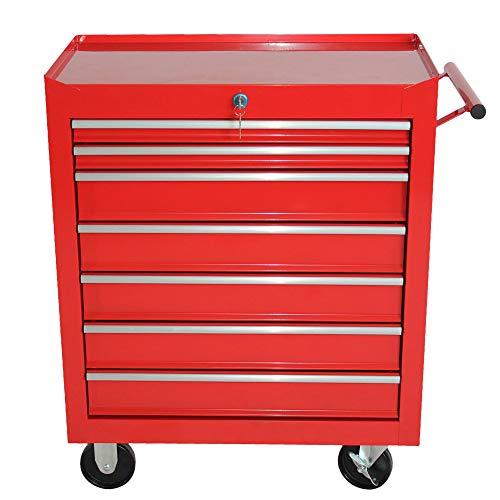 Jalano Werkstattwagen Rollwagen 7 Schubladen abschließbar Werkzeug Wagen Rollen, Farbe:Rot