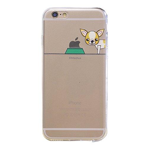 iPhone 6 Plus / 6S Plus Hülle, Keyihan Niedlich Haustier Hunde und Seine Näpfe Muster Dünn Durchsichtige Weiche Silikon TPU Handy Schutzhülle Case für iPhone 6 Plus / iPhone 6S Plus (Chihuahua)