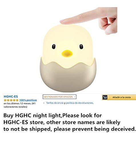 Luz de la Noche del LED,HGHC Niños Noche Luz con Mando - Lindo Cartoon Animal Polluelo Lámpara Portátil LED Silicona Kitty Luz