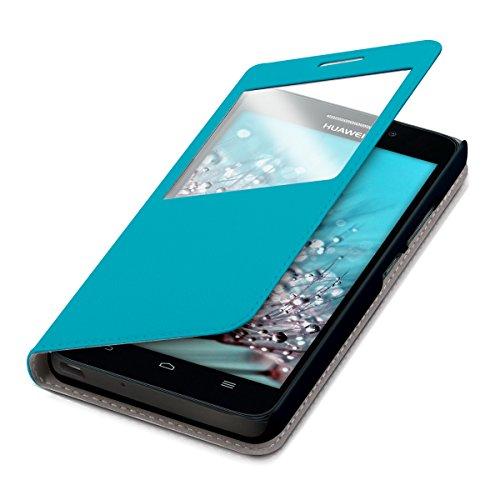 kwmobile Hülle für Huawei Ascend G620s - Bookstyle Case Handy Schutzhülle Kunstleder mit Sichtfenster - Flipcover Klapphülle Hellblau