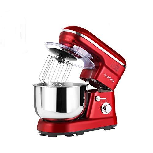 Nestling® 5L Robot Pâtissier, Faible Bruit Batteur Électrique, 3 en 1 avec Batteur, Fouet and Crochet, 5 Vitesses, avec Bol D'Acier inox Robot Multifonctionne 1200W(Rouge)