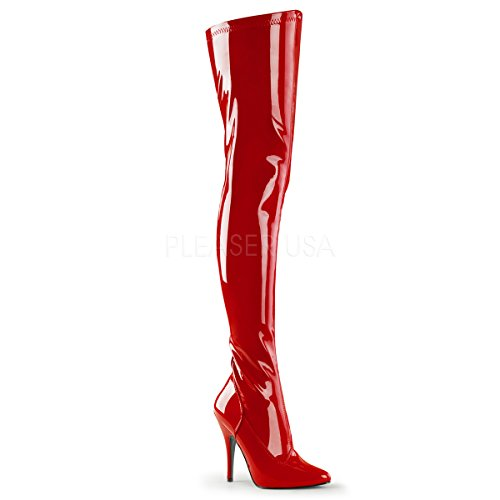 PleaserUSA Overknee-Stiefel Seduce-3000 Lack rot (Stiefel Sexy Rote)