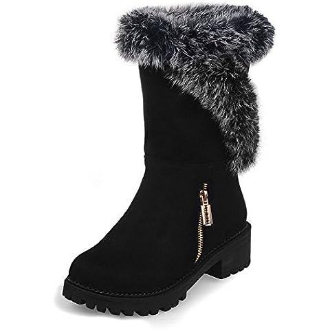 VogueZone009 Donna Punta Tonda Puro Bassa Altezza Tacco Basso Stivali con (I Migliori Donne Di Inverno Boots)