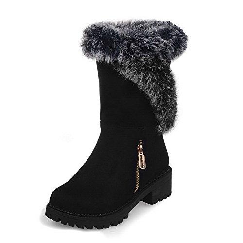 AgooLar Damen Rein Niedriger Absatz Ziehen Auf Rund Zehe Stiefel mit Reißverschluss Schwarz