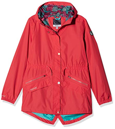 Regatta Kinder Tamora Waterproof and Breathable Fishtail Hem Hooded Outdoor Jacke, Coral Blush, 5-6 -