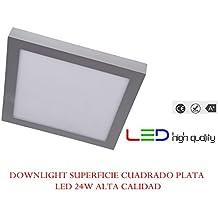LED Downlight superficie cuadrado plata 24W Blanco frio 6000K 2040lm 220V-240v Alta calidad