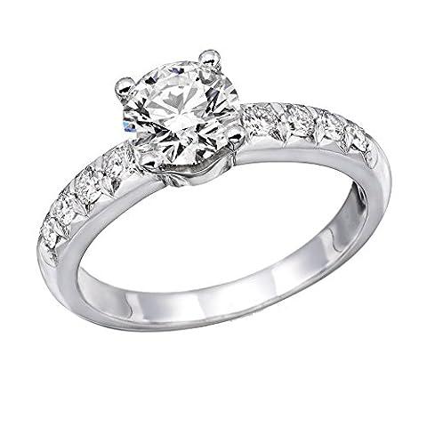 Bague Femme Solitaire Fiançailles Or Blanc 750/1000 (18 carats) et Diamant Brillant 1 carats