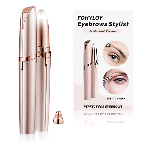FOHYLOY Electric Eyebrow Shapers Brows Hair Remover Shaver,Epilator Built-in-Led Light,Painless Eyebrows Removal Trimmer,1 Replaceable Razors Blade