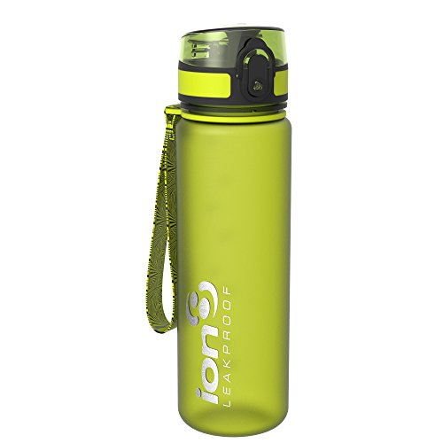 Ion8- Bottiglia per l'acqua, a prova di perdite, senza BPA, Unisex, Leak Proof BPA Free,Frosted Green, 500ml