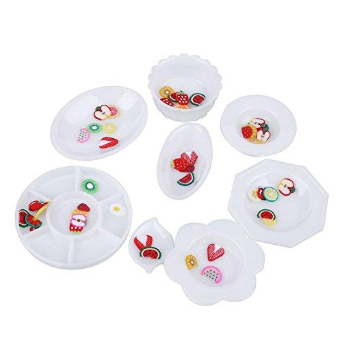 MSmask 33pcs / Set Miniatures Cup Platten-Teller Puppe Küche Abendessen Mini Geschirr