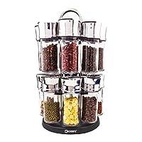Spice Jar, Herb Rack - Revolving Countertop Carousel Set Includes 16 Glass Jar Bottles
