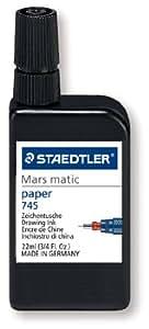 Staedtler - Mars Matic 745 - Flacon d'Encre de Chine Ultra Noire 22ml pour Papier et Calque Végétal