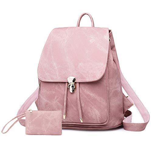 Maysurban Damen Rucksack Schultertasche aus Leder Elegant Cowboy Stil Schulrucksack Freizeit Mini Daypack mit Geldbörse für Uni, Büro & Alltag