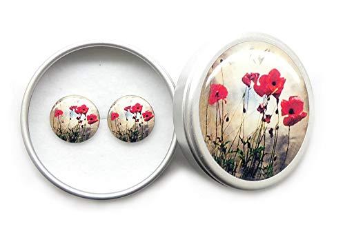 dere Schwarze Rote 925 Sterling Silber Ohrstecker für Mädchen Damen Sommer Herbst Party Schmuck, Hypoallergen Ohrringe Nickelfrei Mohnblume Blume ()
